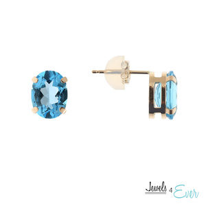 10K Gold Stud Earrings with Genuine Blue Topaz